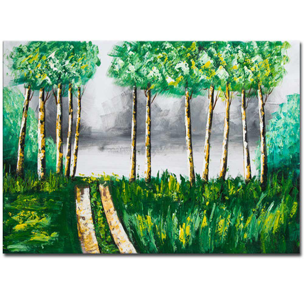 Affordable Hand Painted Abstract Forest Landscape Oil Painting on Canvas Wall Art Decoration No Framed