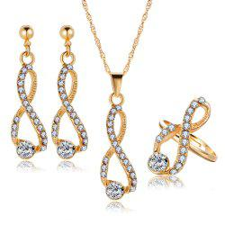 3PCS Luxury Crystal Diamond Earrings Necklace Ring Set -