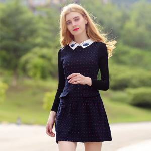 Doll Collar Long Sleeve Woolen Bottom Dress -