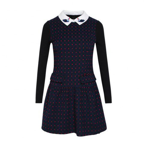 Fashion Doll Collar Long Sleeve Woolen Bottom Dress