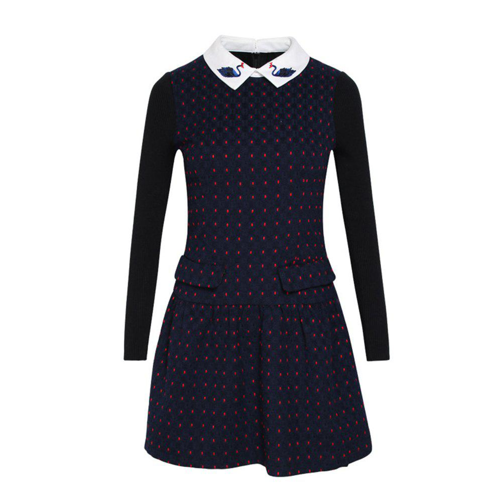 Sale Doll Collar Long Sleeve Woolen Bottom Dress