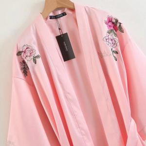 Positioning Embroidered Belt Decorated Loose Kimono -
