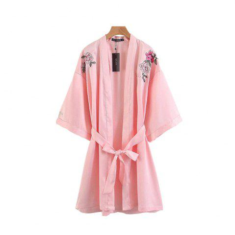 Unique Positioning Embroidered Belt Decorated Loose Kimono
