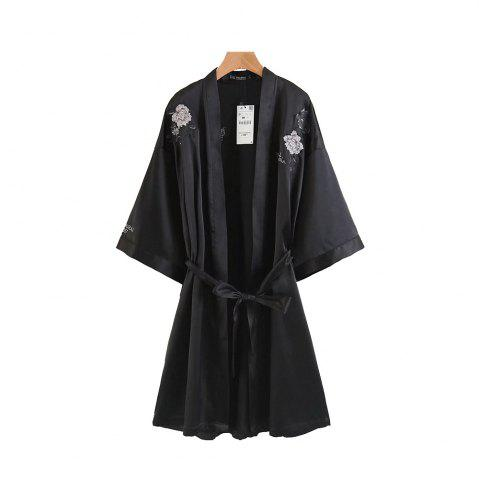 Best Positioning Embroidered Belt Decorated Loose Kimono