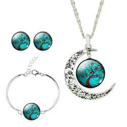 Fashionable Tree of Life Gemstone Moon Pendant Necklace Earring Bracelet Set -