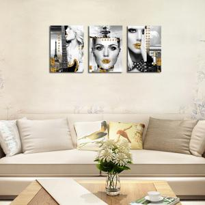 QiaoJiaHuaYuan No Frame Canvas Three Pieces of the Drawing of the Living Room Sofa Background Character Decoration Hangi -