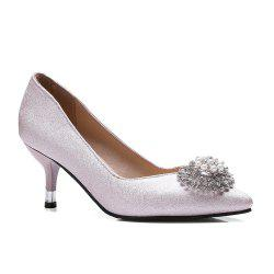 Women's Pointed Toe Pumps Chic Solid Color Personality Ornament Thin Heel Shoes -
