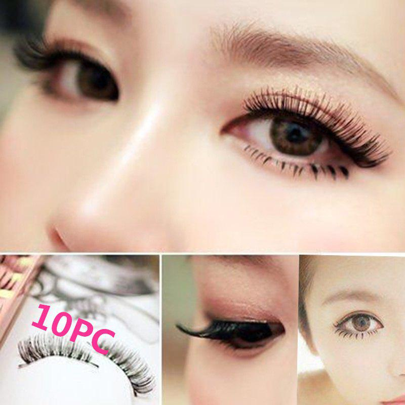 Discount 10 Pairs of Women Pure Handmade False Eyelashes Natural Thick Eyelashes Natural Eyelash Makeup Mascara Tool (color: Black)