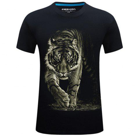 Outfit 2018 Mens New 3D Printed Tiger Round Collar Plus Size Short Sleeves T-Shirt