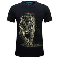 2018 Mens New 3D Printed Tiger Round Collar Plus Size Short Sleeves T-Shirt -