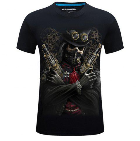 Unique 2018 Mens New 3D Print Round Collar Short Sleeves T-Shirt