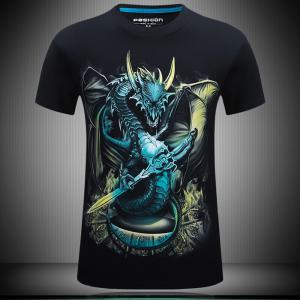 2018 Mens New 3D Dragon Lord Printed Round Collar Short Sleeves T-Shirt -