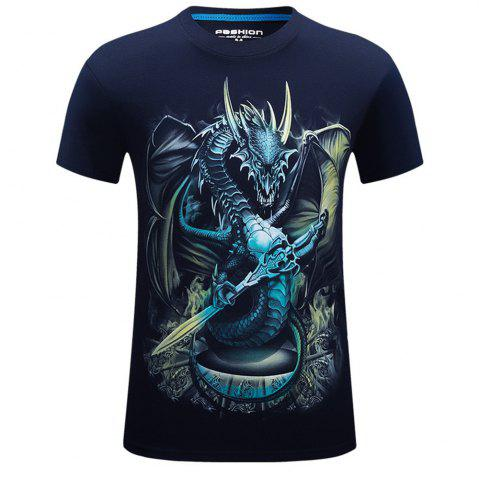 Outfit 2018 Mens New 3D Dragon Lord Printed Round Collar Short Sleeves T-Shirt