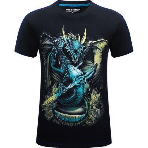 New 2018 Mens New 3D Dragon Lord Printed Round Collar Short Sleeves T-Shirt