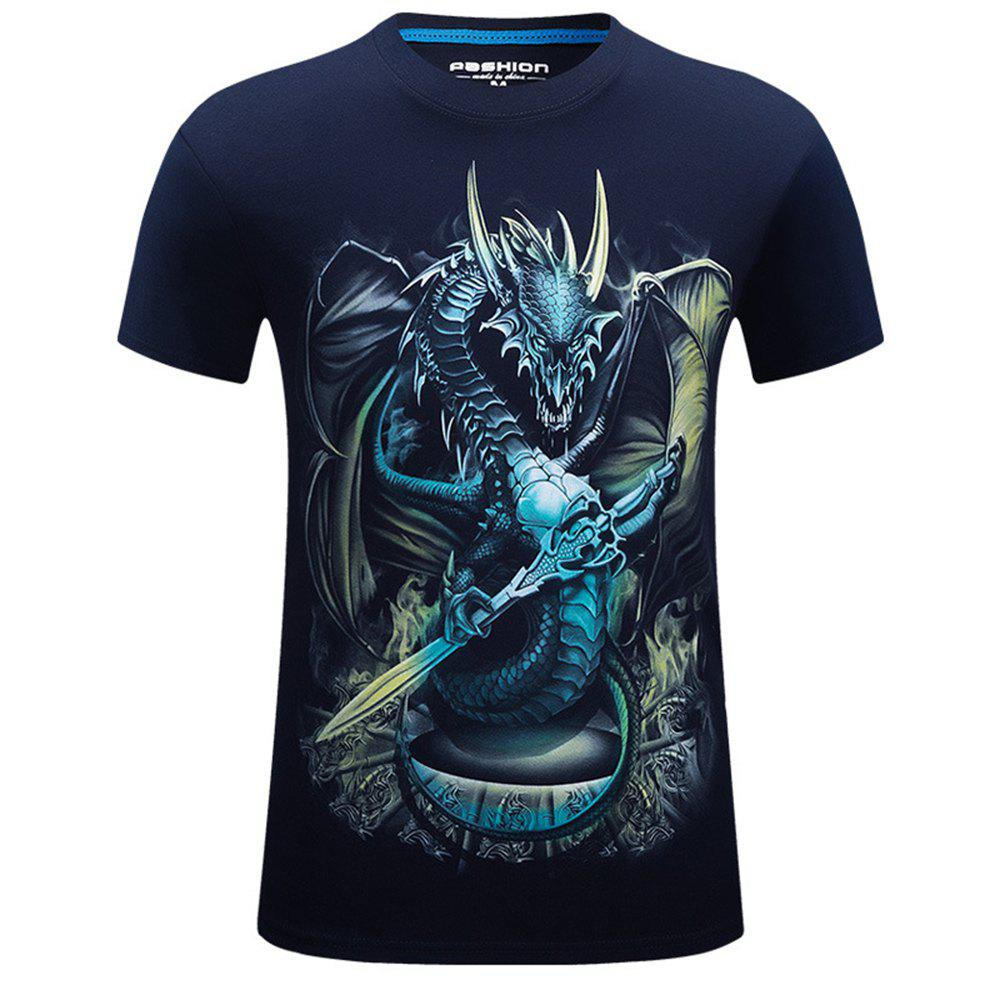 Best 2018 Mens New 3D Dragon Lord Printed Round Collar Short Sleeves T-Shirt