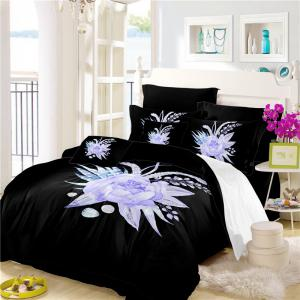 Imitation Embroidered and Painted Series Pattern Leaf Design Fresh and Comfortable High Grade Bedding set -
