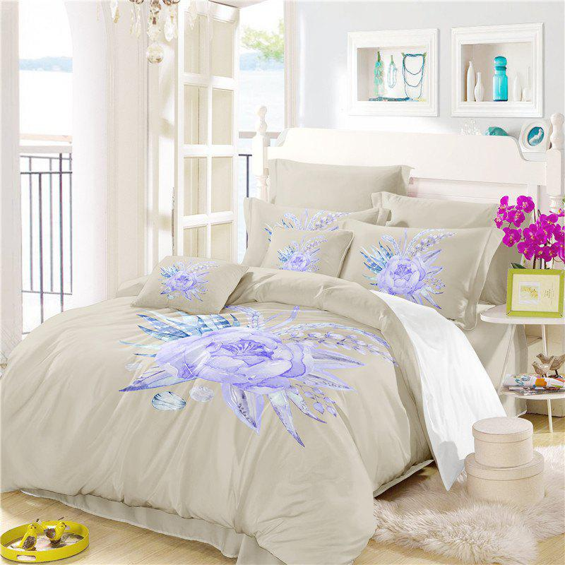 Chic Imitation Embroidered and Painted Series Pattern Leaf Design Fresh and Comfortable High Grade Bedding set