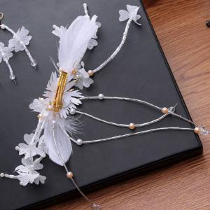 1 Pair White Feather Crystal Hair Hairpin and 1 Pair Earrings Jewelry Set for Women -