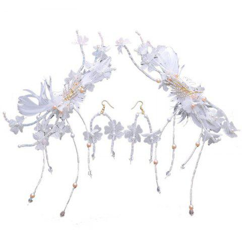 Shops 1 Pair White Feather Crystal Hair Hairpin and 1 Pair Earrings Jewelry Set for Women