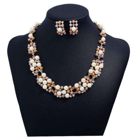Outfit Women Girls Fashion Jewelry Set Pearl Stud Earrings Necklace Set Fine Short Choker Collar Gifts