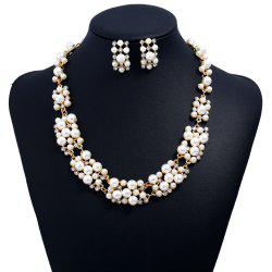 Women Girls Fashion Jewelry Set Pearl Stud Earrings Necklace Set Fine Short Choker Collar Gifts -