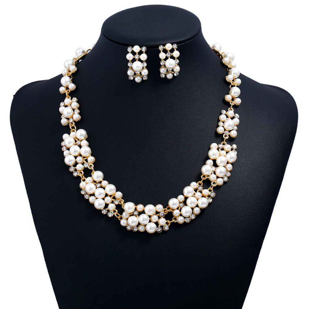 Shop Women Girls Fashion Jewelry Set Pearl Stud Earrings Necklace Set Fine Short Choker Collar Gifts