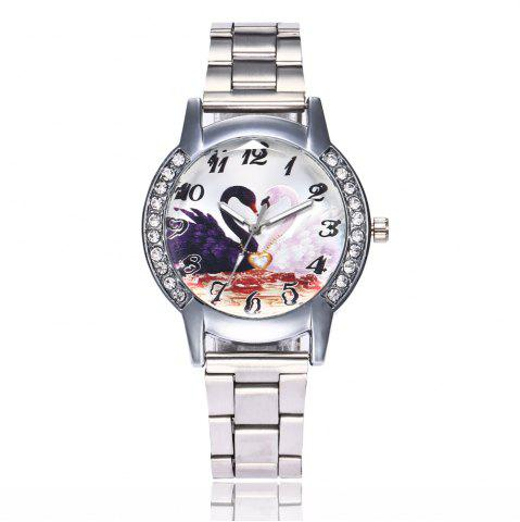 Online Khorasan Swan Dial Women'S Steel Band Quartz Watch with Drill