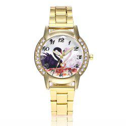 Khorasan Swan Dial Women'S Steel Band Quartz Watch with Drill -