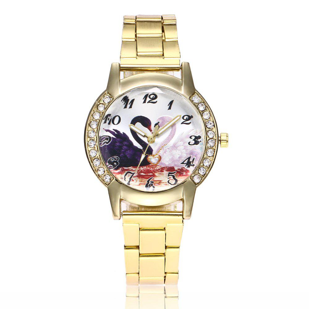 Fashion Khorasan Swan Dial Women'S Steel Band Quartz Watch with Drill