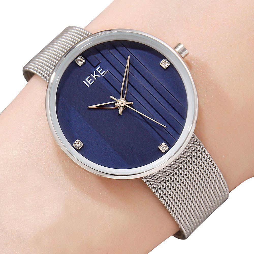 Chic IEKE 88010 The Vertical Grain with Diamond Ladies Female Fashion Brand Steel Quartz Watch