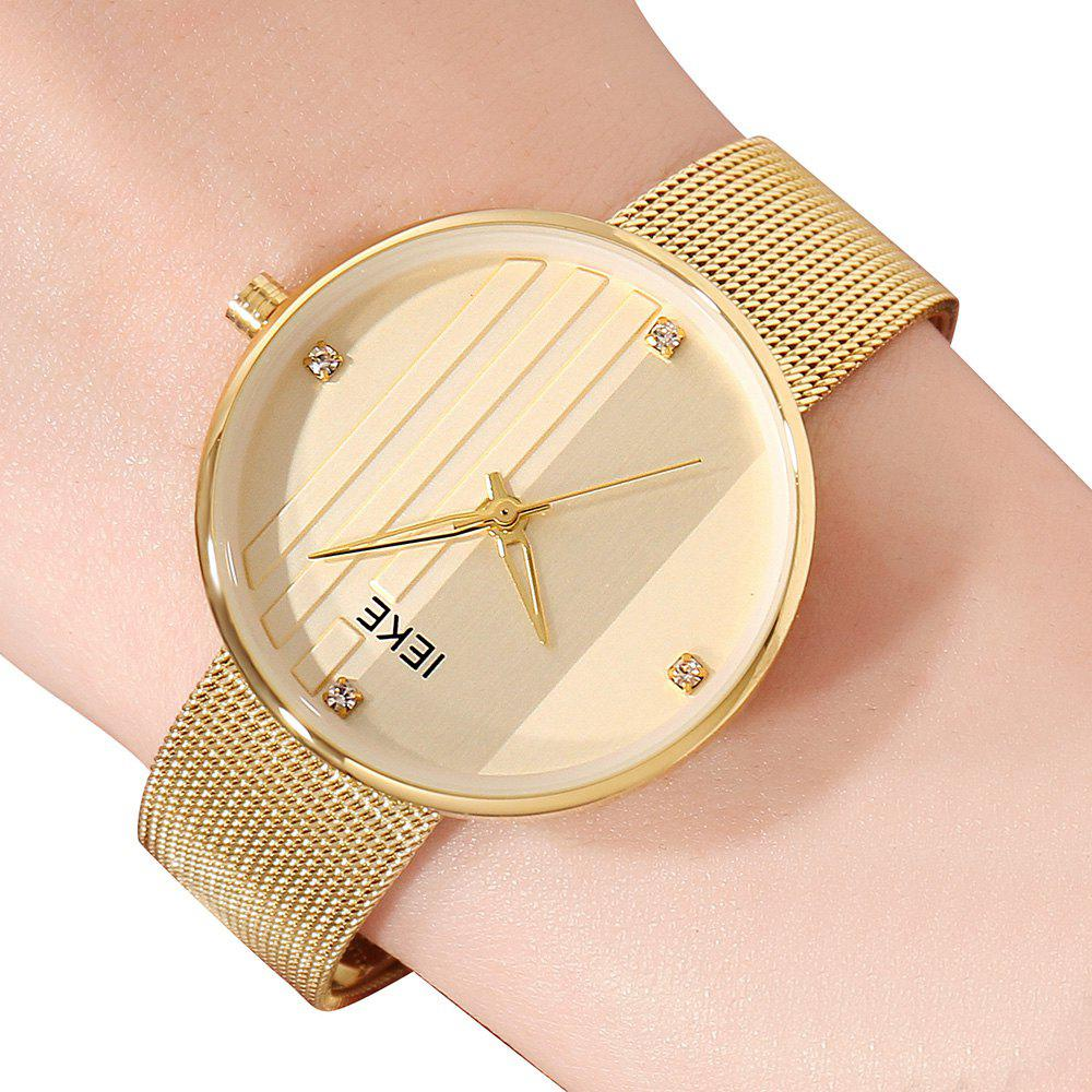 New IEKE 88010 The Vertical Grain with Diamond Ladies Female Fashion Brand Steel Quartz Watch