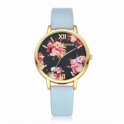 Chic Lvpai P086-G Women Fashion Leather Band Flowers Dial Quartz Watches