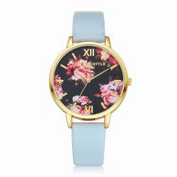 Lvpai P086-G Women Fashion Leather Band Flowers Dial Quartz Watches -