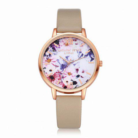 Fashion Lvpai P089-R Women Fashion Leather Band Flowers Dial Quartz Watches