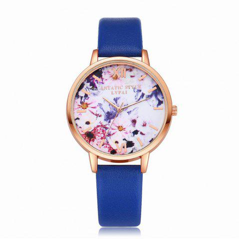 Chic Lvpai P089-R Women Fashion Leather Band Flowers Dial Quartz Watches