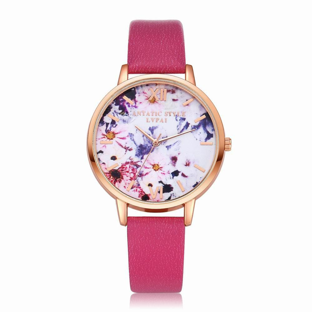 New Lvpai P089-R Women Fashion Leather Band Flowers Dial Quartz Watches