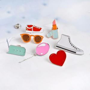 Heart Lipstick Balloon Sneakers Sunglasses Brooch Button Clasp Coat Pin Badge Gift Cartoon Jewelry -