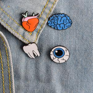 Brain Cartoon Organ Eye Metal Tooth Brooch Button Pins Pins Bag T Shirt Denim Jacket Badge Pin Fashion Jewelry -