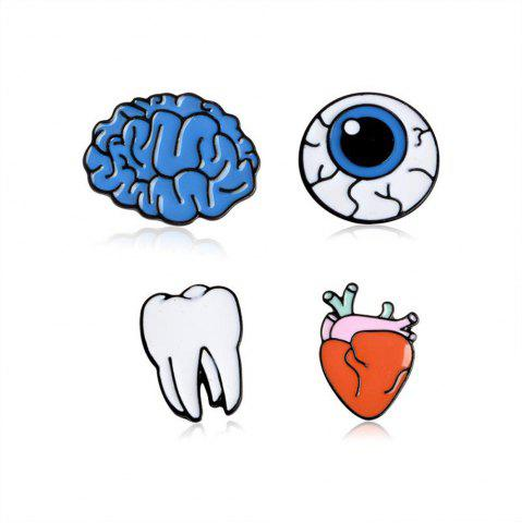 Best Brain Cartoon Organ Eye Metal Tooth Brooch Button Pins Pins Bag T Shirt Denim Jacket Badge Pin Fashion Jewelry