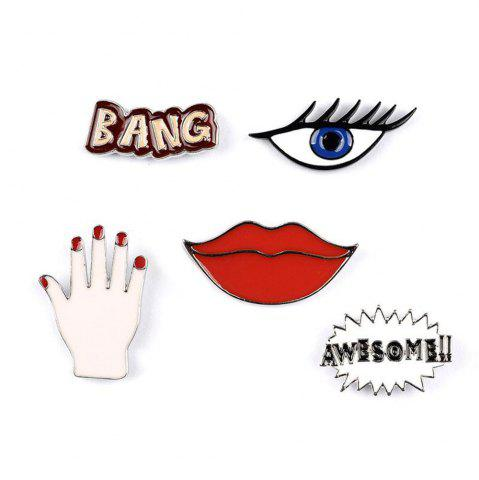 Chic Fashion Woman Collar Shirt Brooch Set Sexy Red Lipstick Hand Set Eye Brooches for Women Jewelry