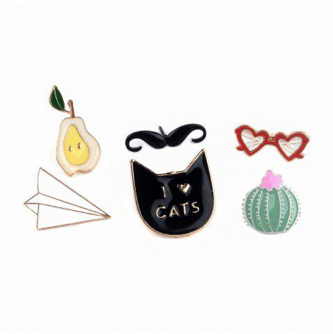 Online Cartoon Sunglasses Mustache  Cats  Nopal Set of Metal Brooches Button Pins Lapel Pins Pin Jewelry