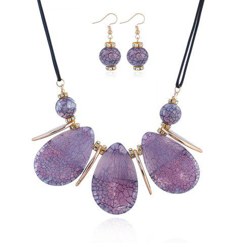 Shops 2018 New Design Boho Classic Big Water-Drop Resin Pendents Necklace Fashion Charm Set Necklace Jewelry For Women Wedding