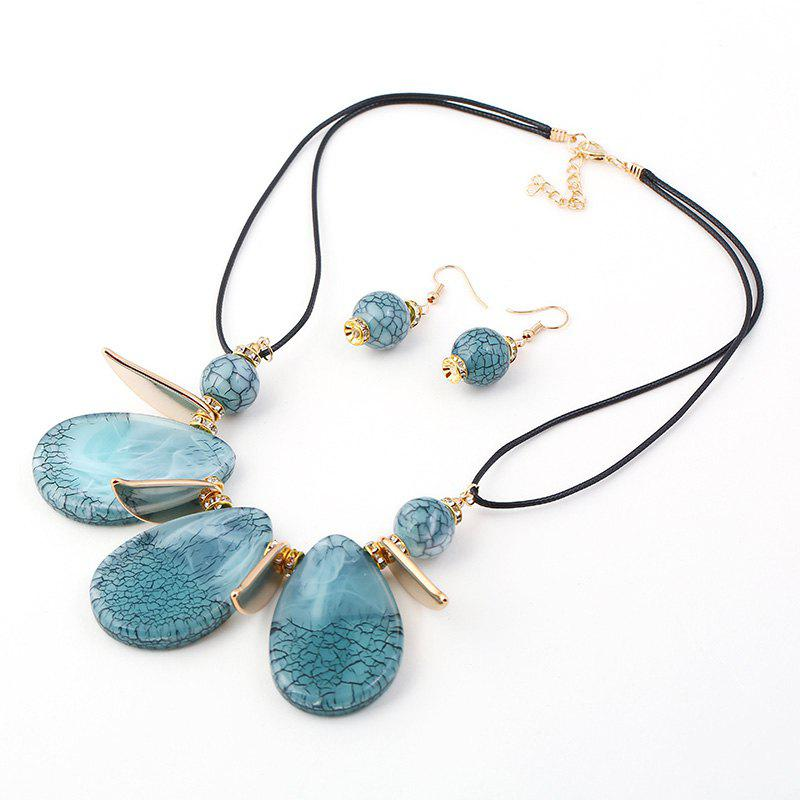 Discount 2018 New Design Boho Classic Big Water-Drop Resin Pendents Necklace Fashion Charm Set Necklace Jewelry For Women Wedding