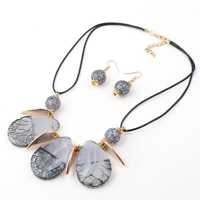 Fashion 2018 New Design Boho Classic Big Water-Drop Resin Pendents Necklace Fashion Charm Set Necklace Jewelry For Women Wedding