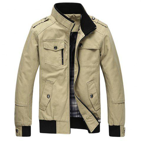 Buy Cargo Jacket Man Casual Cotton Stand Collar Jackets