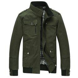 Cargo Jacket Man Casual Cotton Stand Collar Jackets -