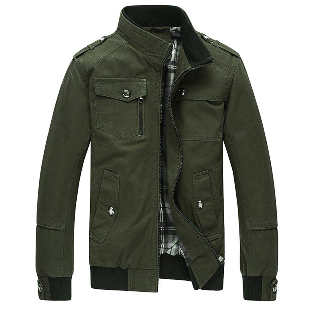 Unique Cargo Jacket Man Casual Cotton Stand Collar Jackets