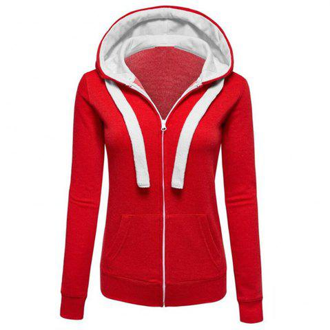 Chic Plain Coloured Spliced Zip Long Sleeve Hooded Pocket Cardigan