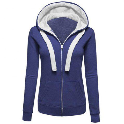 Shops Plain Coloured Spliced Zip Long Sleeve Hooded Pocket Cardigan
