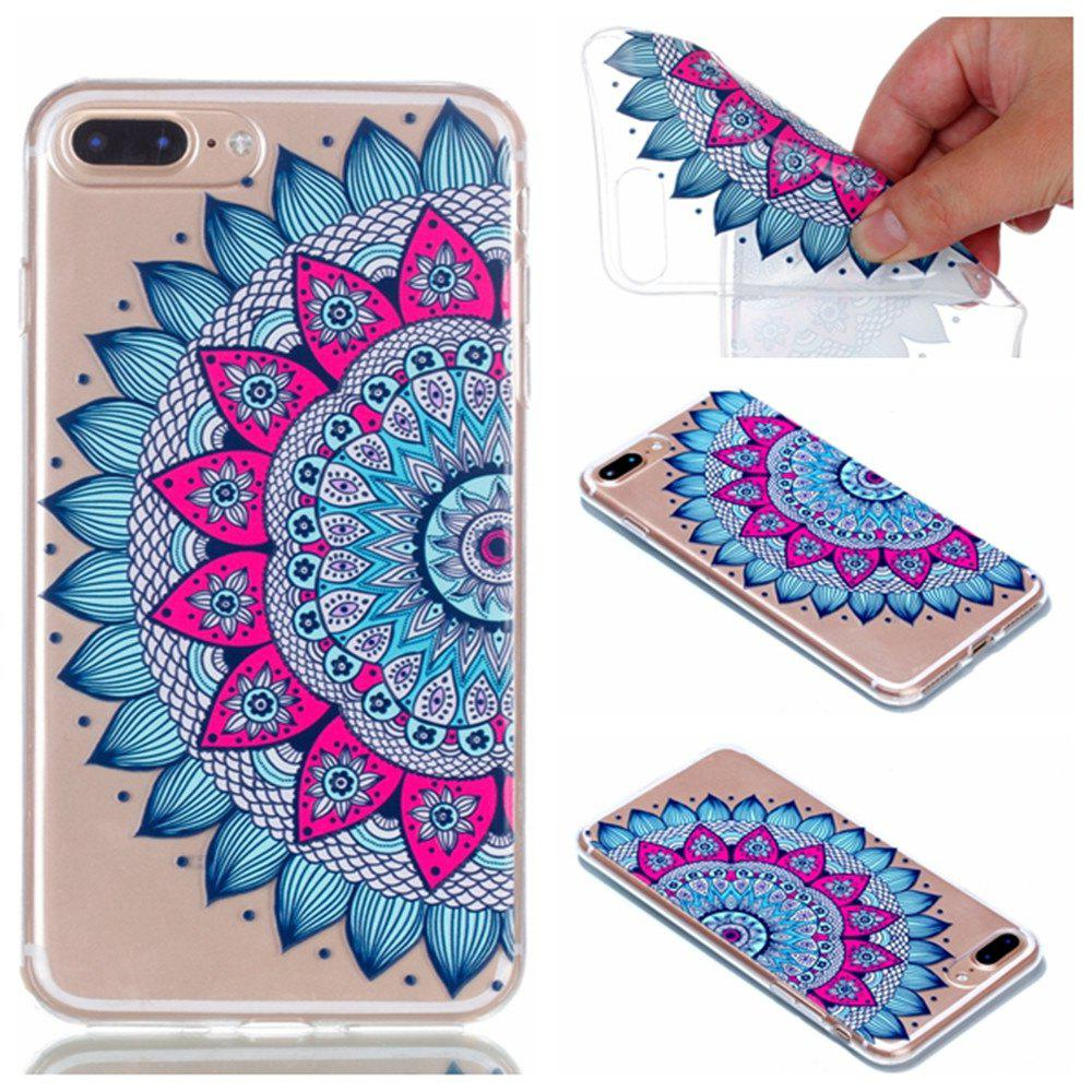 Fashion for Iphone 7 Plus Mandala Painted Soft Clear TPU Phone Casing Mobile Smartphone Cover Shell Case